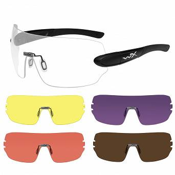 WileyX Detection Glasses; 5 Pairs Of Lenses : Clear, Yellow, Orange, Purple, Copper; Matte Black Frame
