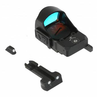 Meprolight MicroRDS Red Dot Micro Sight with Quick Detach Adaptor and Backup Sights for Glock